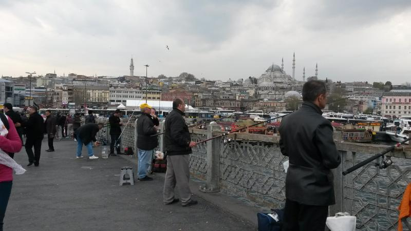 Fishermen fishing on the Galata bridge